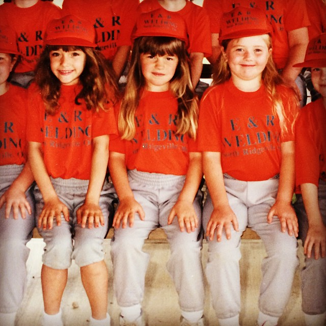T-ball Lauren with the good bangs and me with the big head